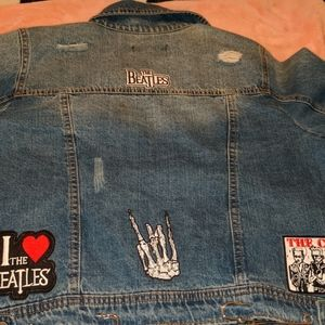 Brand new jean jacket distressed with